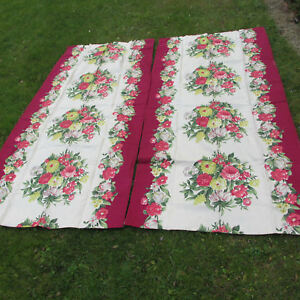 Elegant C1920 30s Art Deco Curtain Panels With Floral Motif