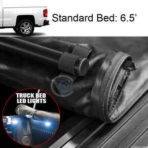 Low Roll Up Tonneau Cover 16x Led Lights 14 18 Silverado Sierra 6 5 Ft Truck Bed
