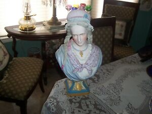 Antique Porcelain French Sevres Style Bisque Bust