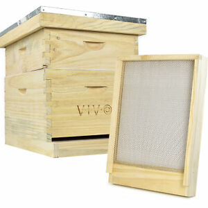 Vivo Complete Beekeeping 20 Frame Langstroth Beehive Box Kit With Bottom Screen