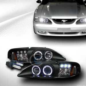 6000k Hid Xenon W Black Led Halo Projector Head Lights Signal 1994 1998 Mustang