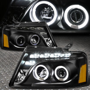 dual U halo for 2004 2008 Ford F150 Black Amber Projector Headlight W led Drl