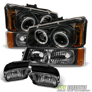 Black 03 06 Silverado Avalanche Projector Headlights Bumper Signal Fog Lights
