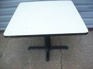 Restaurant Equipment 35 Square Table Top With Cast Iron Base White Vinyl Top