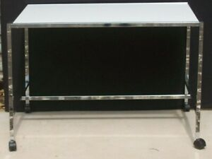 Store Display Fixtures Chrome Display Table On Rollers White Top 48 L X 34 W