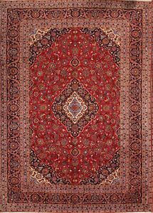 Large Vintage Floral Red 10x14 Kashaan Persian Oriental Hand Knotted Area Rug