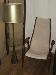 Vintage Modern Brass Side Glass Table Floor Lamp Hollywood Regency Stiffel Type