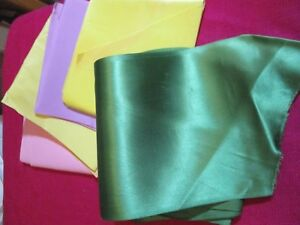 7 Pieces Vintage 4 1 2 Wide Ribbons Blue Pink Green Yellow Lavender Satin Faille