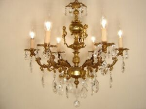 Old Crystal Brass Cherubs Chandelier Vintage French Ceiling Lamp Fixtures