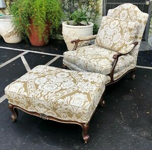 Louis Xv Style Baker Furniture Company Oversized Bergere Chair Ottoman