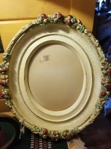 Antique Rose Oval Mache Picture Frame Large