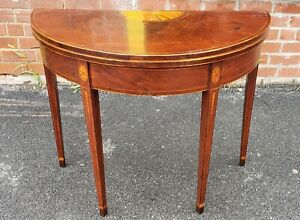 American Federal Mahogany Demilune Games Table Rhode Island Or Connecticut C1795
