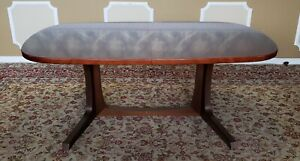 Danish Modern Dark Rosewood Trestle Style Dining Room Table W 2 Leaves 1970s