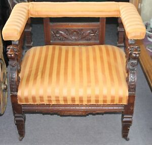 Antique Carved Lions Heads Striped Upholstered Square Armchair Renaissance Style