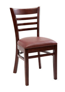 New Gladiator Wooden Mahogany Ladder Back Restaurant Chair With Wine Vinyl Seat