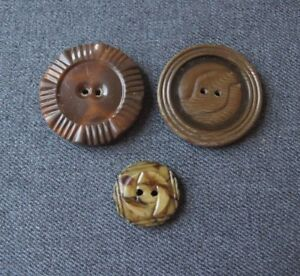 3 Vintage Art Deco Assorted Lined In Celluloid Black Tin Back Buttons