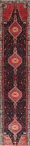 One Of A Kind Geometric Black Pink Hamedan Persian Hand Knotted 3x15 Runner Rug