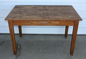 Oak Arts Crafts Mission Library Desk Hall Office Conference Table Antique Old