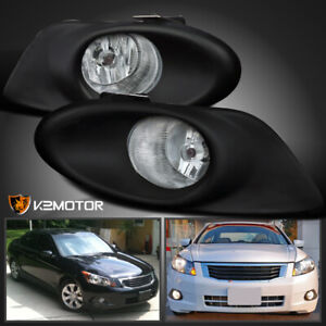 For 2008 2010 Honda Accord 4dr Sedan Clear Bumper Fog Lights Bulbs Switch
