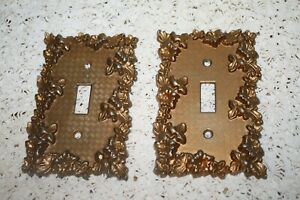 Pair Of Vintage Ornate American Tack Howe Single Light Switch Covers
