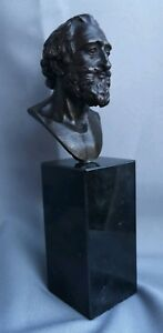 Antique Early Sculpted Bronze Bust Of King Henry Iv Of France On Marble Plinth