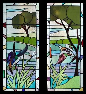 Special Rare Art Deco Flight Of The Ducks In Forest Pair Stained Glass Windows
