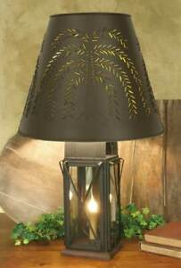 Country New Large Brown Milkhouse Table Lamp W Willow Shade