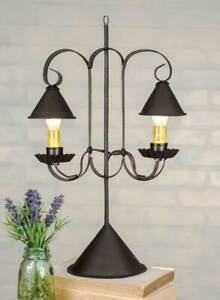 Colonial New Tabletop Brown Tin Double Light W Hanging Tin Shades