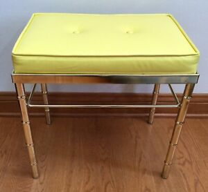 Vintage Mid Century Gold Plated Faux Bamboo Foot Stool Vanity Bench Ottoman