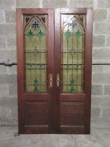 Antique Chestnut Stained Glass Double Entrance French Doors 48x80 Salvage