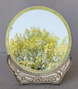 Deco 950 Sterling Silver Round Mirror Wood Back And Stand