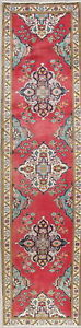Vintage Traditional Floral Persian Oriental Hand Knotted 3 X11 Wool Runner Rug