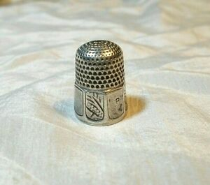 Antique Simons Bros Silver Thimble 8 Panels 4 Decorative Size 8 Hallmark