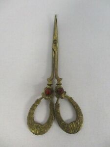 Antique German Fancy Gold Metal Sewing Scissors With Red Crystals 4 1 8