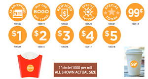 Preprinted Price Labels 1 Inch Round 1000 Per Roll Store Stickers Buy Several