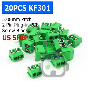 20pcs Kf301 2p 2 Pin Plug in Screw Terminal Block Connector 5 08mm Pitch M211