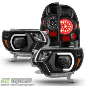 For Black 2012 2015 Toyota Tacoma Drl Neon Tube Headlights Led Tail Lights Lamps