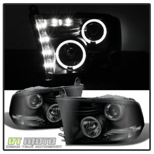 Black Smoked 2009 2018 Dodge Ram Halo Headlights W daytime Drl Led Left right