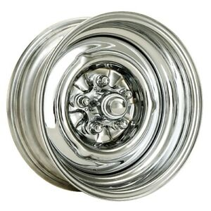 Speedway O E Style Hot Rod Chrome Steel Wheel 15x8 5 On 4 75 4 25 Bs