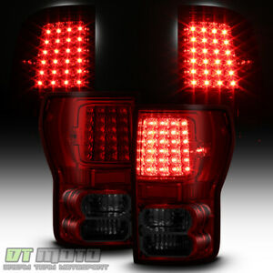 For 2007 2013 Toyota Tundra Red Smoked Led Tail Lights Brake Lamps Left Right