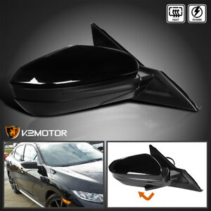 For 16 18 Honda Civic Glossy Black Power Heated 5 pin Folding Right Side Mirror