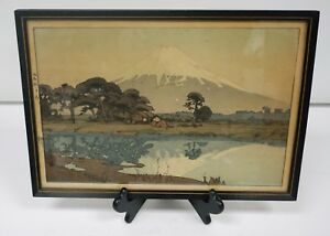 First Light Of The Sun Hiroshi Yoshida Japanese Woodblock Print Mt Fuji Signed