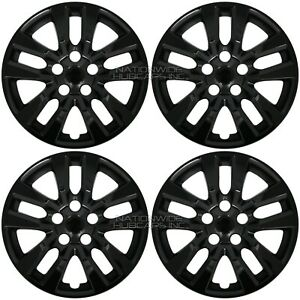 4 Black Wheel Covers For 2002 2018 Nissan Altima 16 Snap On Full Rim Hub Caps