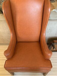 Vintage Beautiful Orange Chair With Ottoman From Ethan Allen