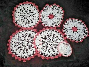 Lot Of Antique Vtg Hand Crocheted Doily Doilies Bright White W Rose Pink Edges