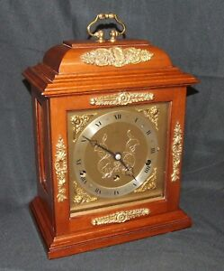 Walnut Musical Bracket Mantel Clock By Elliott London Auto Night Shut Off