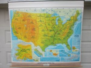 Vintage United States Physical And Political Pull Down Map By Concept