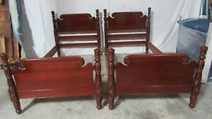 Pair Cherry Twin Vintage Poster Beds