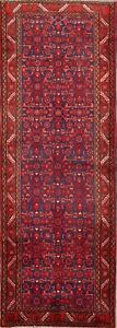 Vintage All Over Floral Hamedan Persian Hand Knotted 4x10 Wool Runner Rug