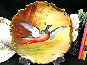 Coronet Limoges France Painted Bird In Flight Artist Signed Charger Rocco Edges